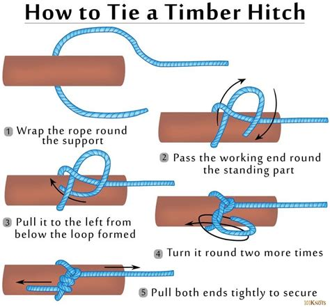 printable directions how to tie a tie timber hitch knot instructions boating sailing and