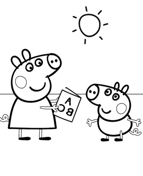 peppa pig winter coloring pages peppa colouring page 25 to print or download for free