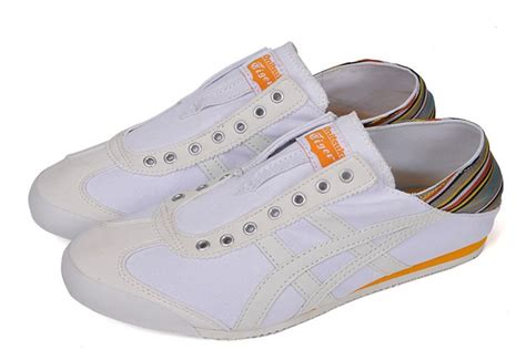Po Onitsuka Tiger Mexico 66 Paraty Slip On Canvas White Pattern white orange onitsuka tiger mexico 66 slip on shoes