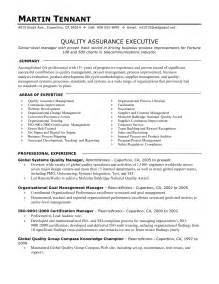 qa manager resume sle quality resume in canada sales quality