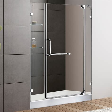 Frameless Shower Door Hardware Supplies Vigo 48 Inch Frameless Shower Door 3 8 Quot Clear Glass Chrome Hardware With White Base Free