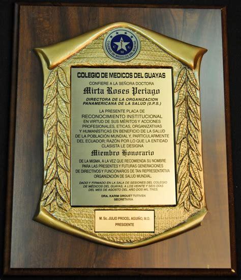 ejemplos de placa de reconocimiento institucional paho who iris placa de reconocimiento de miembro