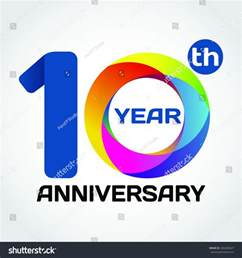 10 year anniversary color 10 anniversary color template logo stock vector 326383427
