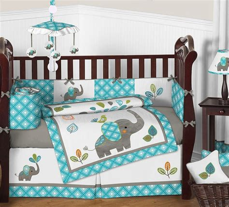 mod elephant crib bedding set by sweet jojo designs 9