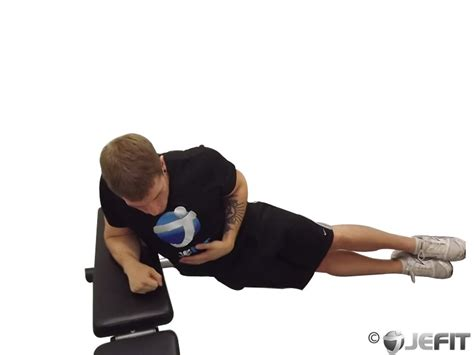 bench crunches oblique crunches with bench exercise database jefit