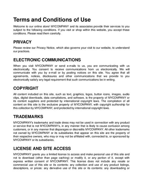 terms and conditions template for store 28 images sle