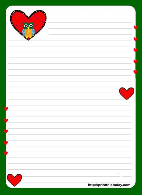 printable lined paper with heart border 25 best images about borders stationary hearts on