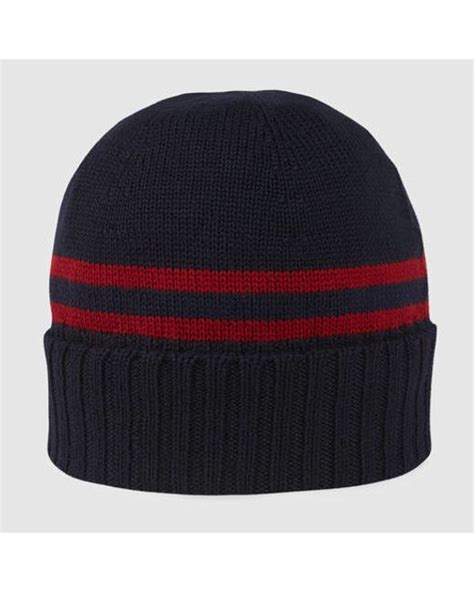gucci knit hat gucci knit hat with web detail in blue for blue