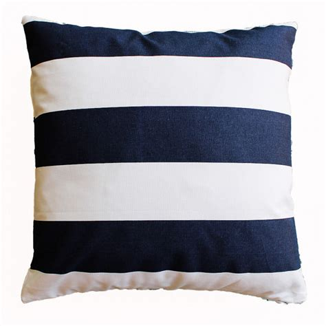 navy and white striped pillow cover 18 x 18 by thelinenhouse