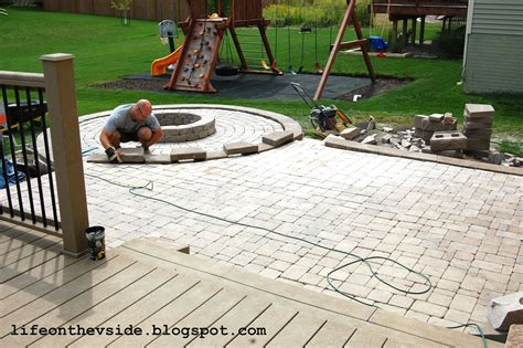 On The V Side He Built Me A Patio And I Liked It Paver Patio Ideas Diy