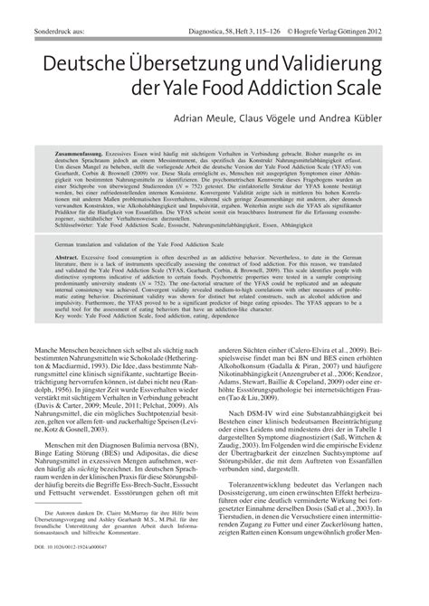 Yale New Detox by German Translation And Validation Of The Pdf