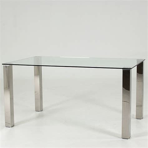 Clear Glass Dining Table Splash Dining Table Rectangular In Clear Glass With Chrome