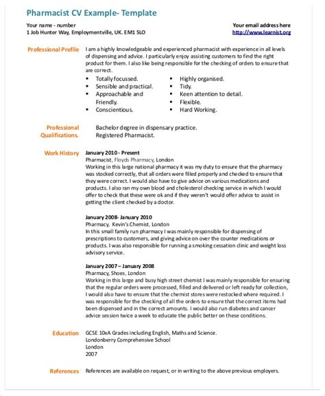 Pharmacist Resume Format by 9 Pharmacist Curriculum Vitae Templates Pdf Doc Free