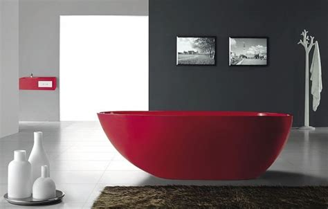 gorgeous red freestanding bathtub from bella stone digsdigs