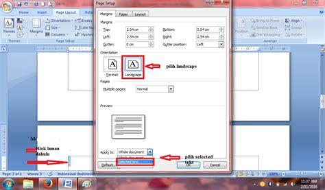 cara membuat halaman yang berbeda pada satu file word pujud cara buat halaman vertikal horizontal dalam dalam