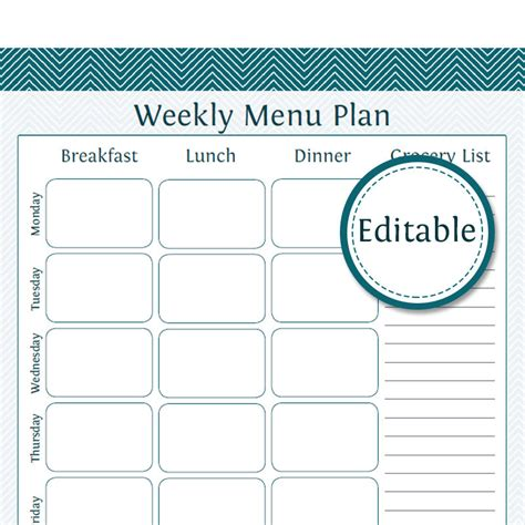 editable menu planner template weekly menu planner with grocery list fillable printable