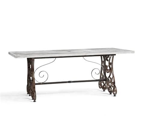 Concrete Top Dining Tables Rosalie Concrete Top Rectangular Dining Table Pottery Barn