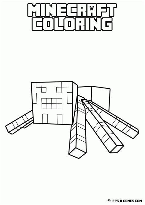 minecraft coloring pages cave spider free minecraft coloring pages pdf az coloring pages