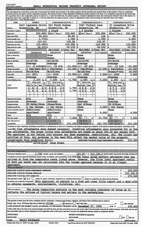 rea exle appraisal report sle multi family