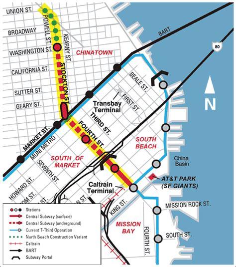 san francisco muni underground map socketsite a plan for san francisco s central subway to