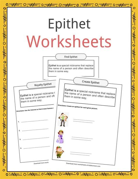 epithet worksheets exles in literature definition
