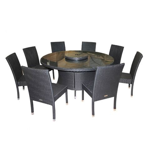 8 Chair Dining Table Garden Dining Set Large Table With 8 Chairs In Black Ideal Home Show Shop