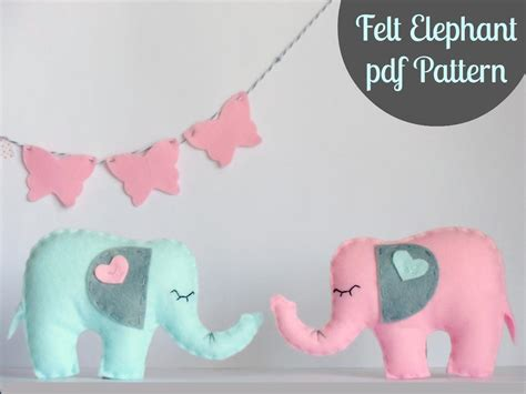 felt pattern mobile felt elephant pdf baby mobile toy sewing patterns