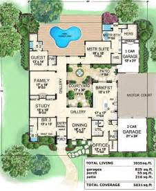 executive house plans central courtyard home 36118tx 1st floor master