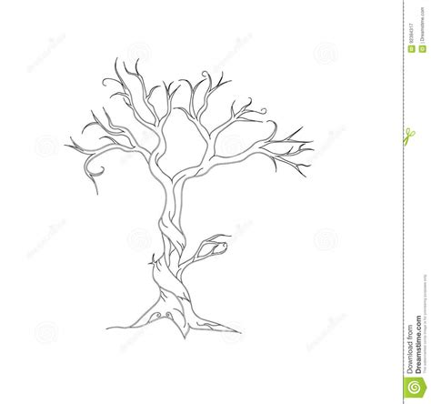 tree stock vector image  background artistic dried