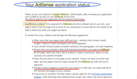 adsense insufficient content how to get google adsense approval for blog or website