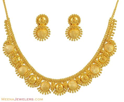 22k Gold Earrings Designs | 22k gold necklace set stls11234 22k yellow gold