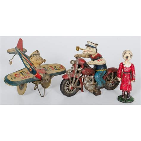 Sho Olive Original hubley cast iron popeye motorcycle and olive lot 708