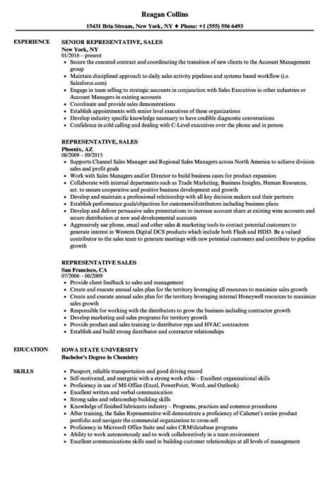 sle of resume title representative sales resume sles velvet