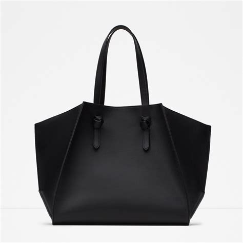 New Zara Tote zara geometric faux leather tote in black lyst