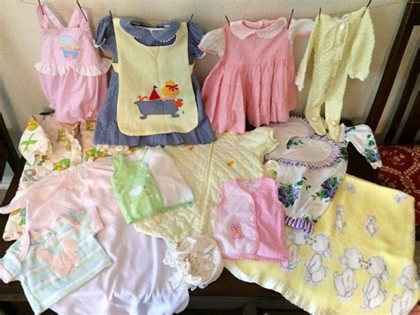 lot 1 vintage baby clothes boy toddler blanket