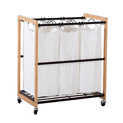 Storage Bag Bamboo Model Tidur ecostorage wheeled 3 bag bamboo laundry cart