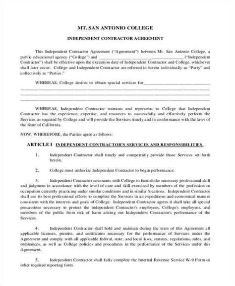 1099 Contractor Agreement Form Dolap Magnetband Co 1099 Agreement Template Free