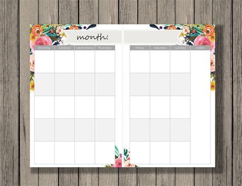 blank 2 page per month calendar half size green blue monthly calendar printable a5 size monthly calendar