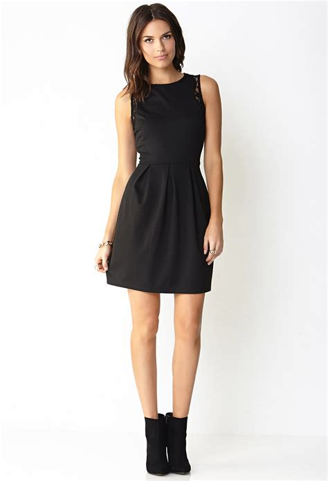 Forever 21 Lace Trimmed A Line Dress in Black   Lyst
