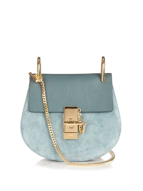 Be D Garbo Shoulder Bag by Chlo 233 Drew Mini Leather And Suede Shoulder Bag In Blue Lyst