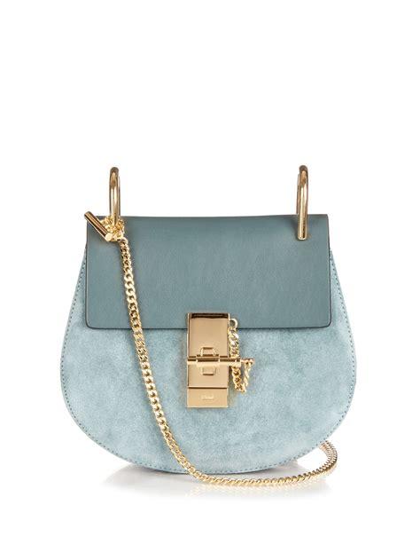 chloe bag drew chlo 233 drew mini leather and suede shoulder bag in blue lyst