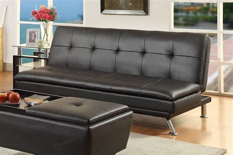 poundex duvis f7838 black leather sofa bed a sofa