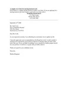 Cover Letter Exles For Nurses by 26 Effective Cover Letters For Nursing Position Vntask