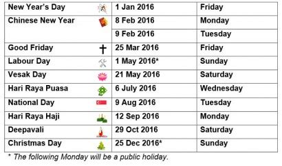 public holidays 2016 with calendar government gazetted 6 long weekends for 2016 public holidays singapore news
