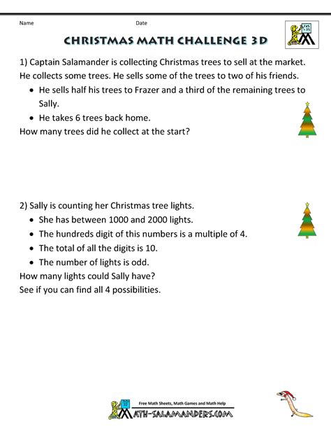 christmas math worksheets harder