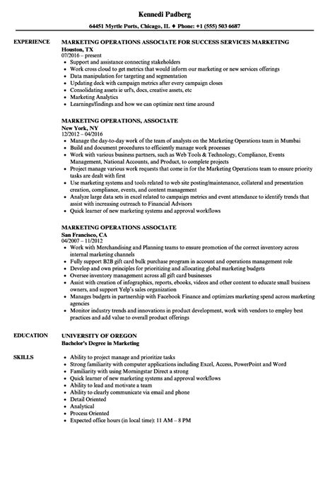 Marketing Associate Resume by Marketing Operations Associate Resume Sles Velvet