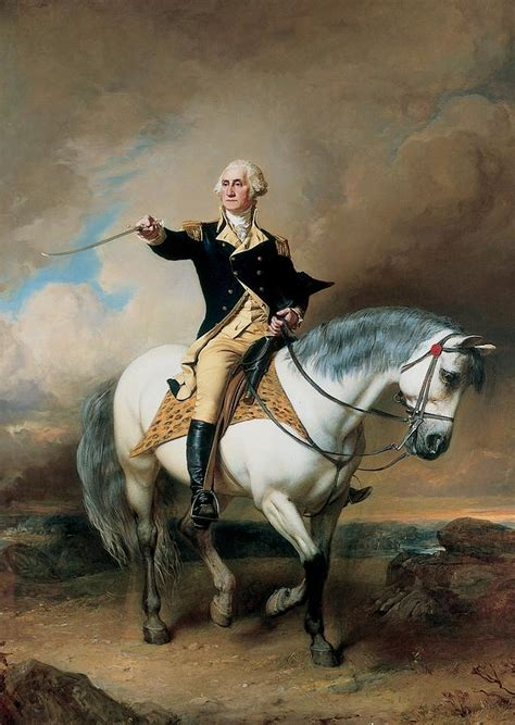 Horse Duvet Cover Portrait Of George Washington Taking The Salute At Trenton