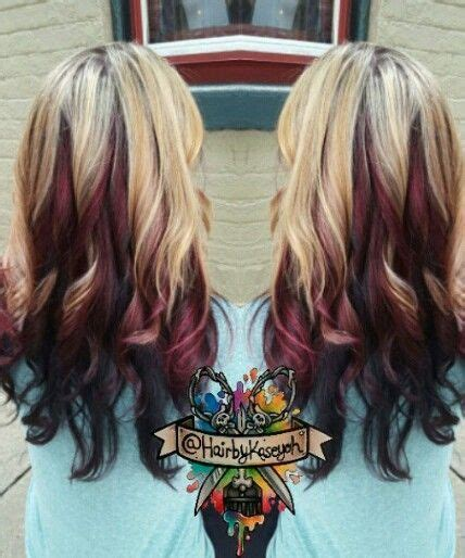 blonde and burgundy hairstyles blonde burgundy black multi tone dyed hair inspiration