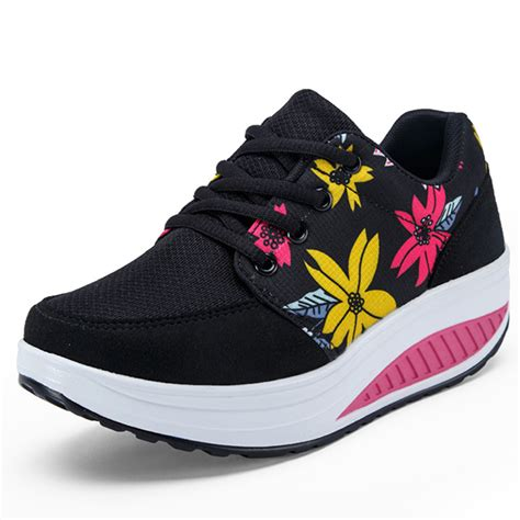 flat soled running shoes mesh flower casual outdoor lace up rocker sole shoes