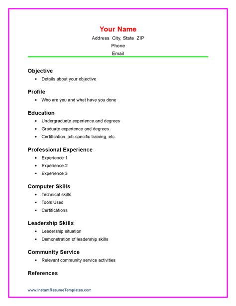 Example Of A Resume With No Work Experience by Doc 756977 Free Resume Templates For Students With No